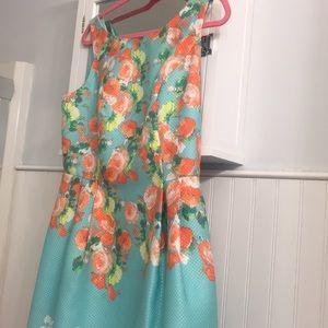 Flower print blue dress